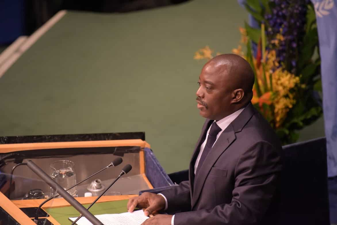 Joseph Kabila, President of the Democratic Republic of the Congo (DRC) at the United Nations in 2016.